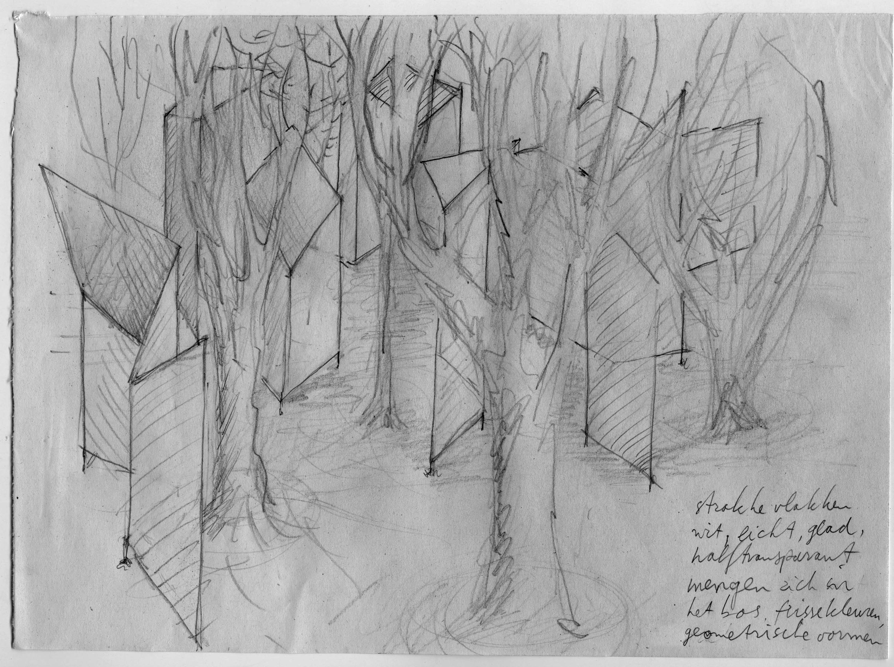 Frames: Een verzameling hoekige bouwsels, ieder drie à vier meter hoog en breed, is tussen de bomen opgesteld, een gebouwd bos in een gegroeid bos. Sommige van de bouwsels zijn van wit gaasachtig materiaal waarop licht & video geprojecteerd worden; andere zijn bespannen met spiegelend folie dat de omgeving weerspiegelt of van één kant door laat zien. Er zijn ook 'dakvlakken', hoger tussen de bomen. Die trekken de aandacht van de bezoeker omhoog, naar het bladerdak, de hemel erboven, de vogels en de laag overkomende vliegtuigen.  Het contrast van de kunstmatige en natuurlijke vormen, samen met de videoprojecties, zorgt voor verrassende effecten.